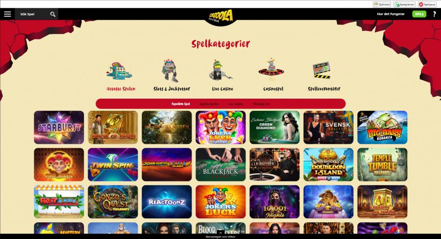 Skärmdump på Casoola slots spel sida