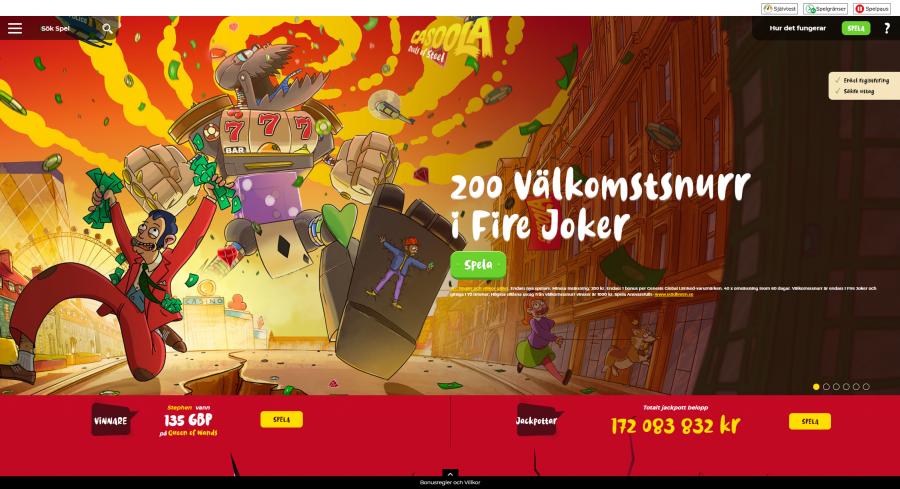 Skärmdump på förstasidan av Casoola