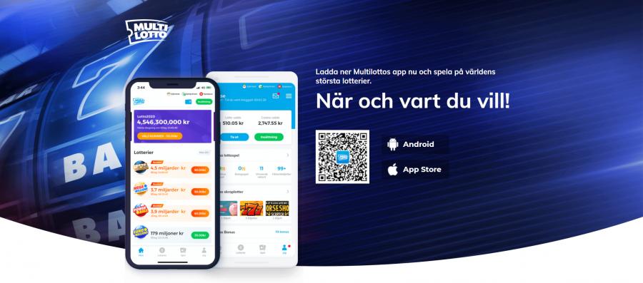 Skärmdump på multilottos app reklam